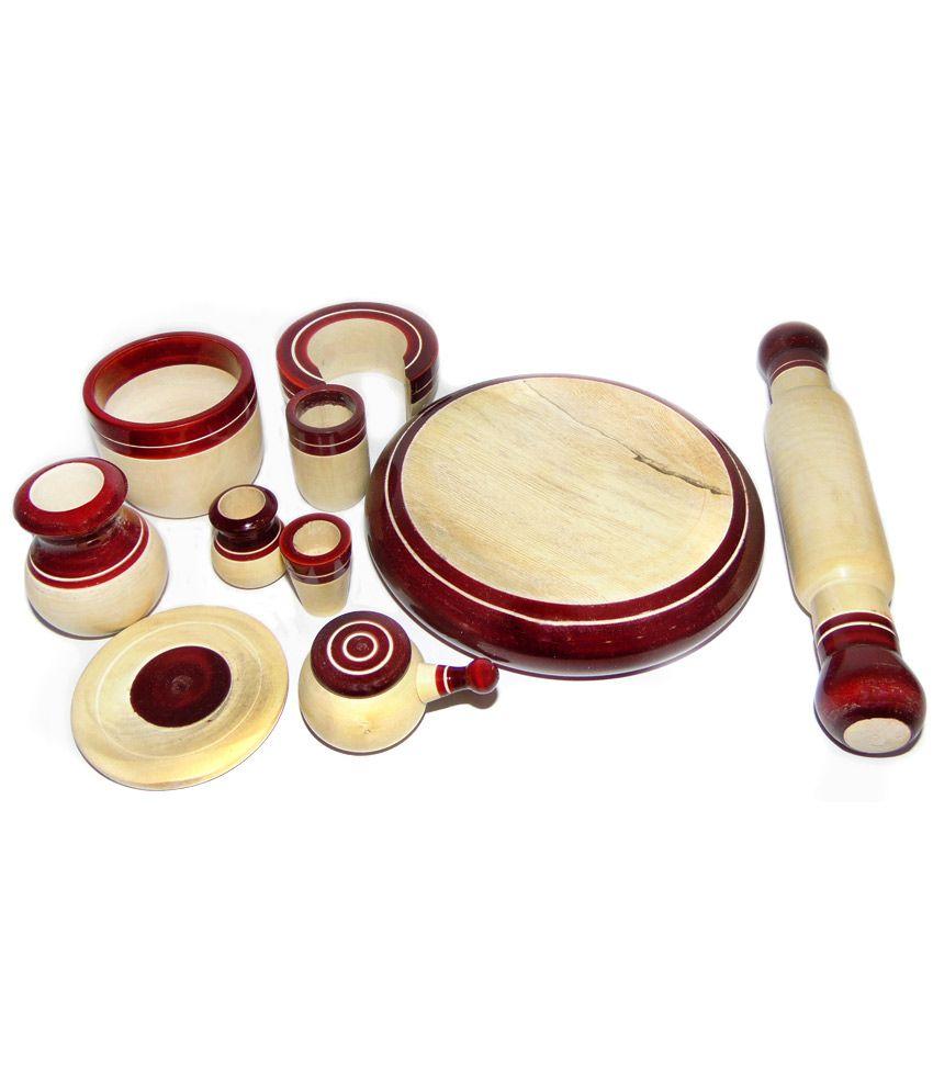 Chukku Bukku Red Wooden Miniature Kitchen Utensils Toy Set 10 Pieces