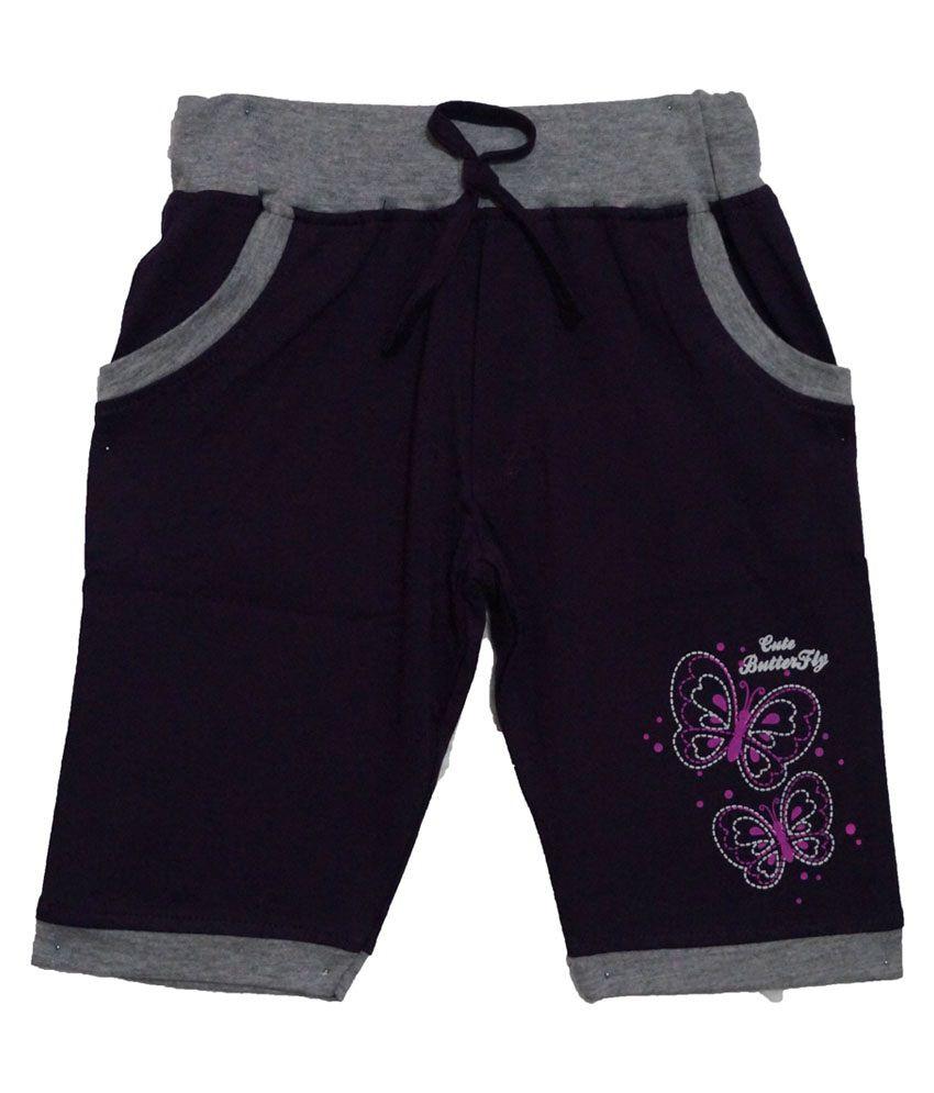 Color Kids Purple Cotton Shorts