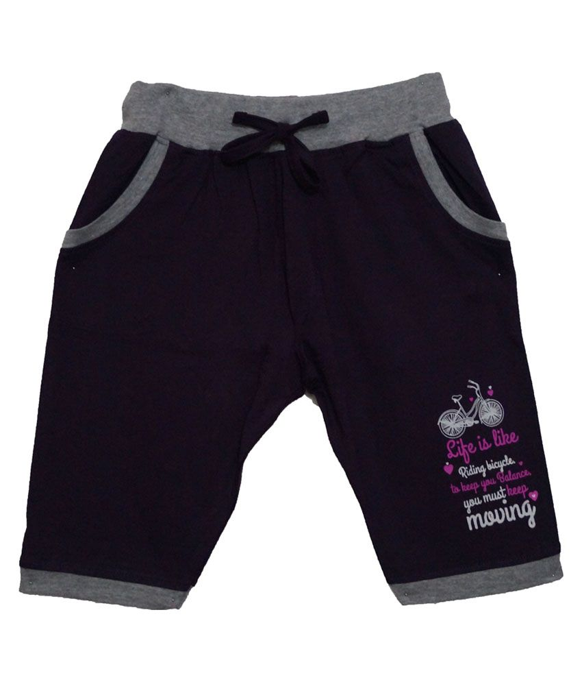 Color Kids Purple Cotton Shorts