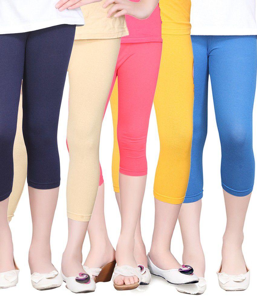Sinimini Combo of 5 Multicolor Cotton Tights