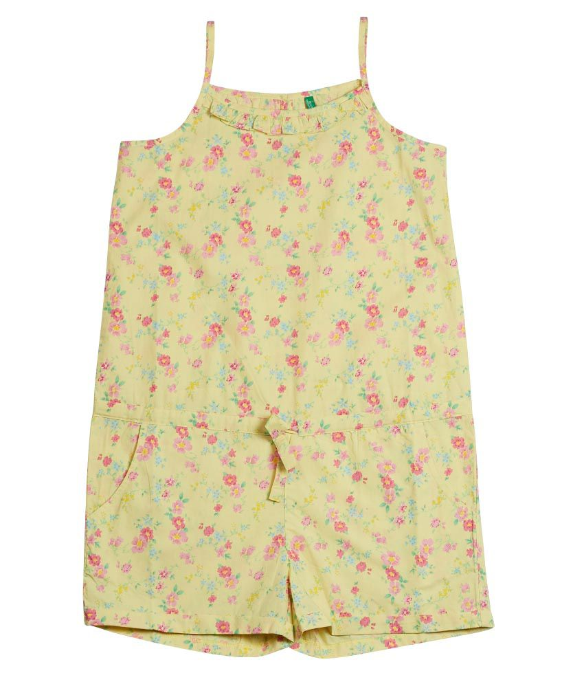United Colors of Benetton Printed Lemon Yellow Casual Floral Jumpsuit