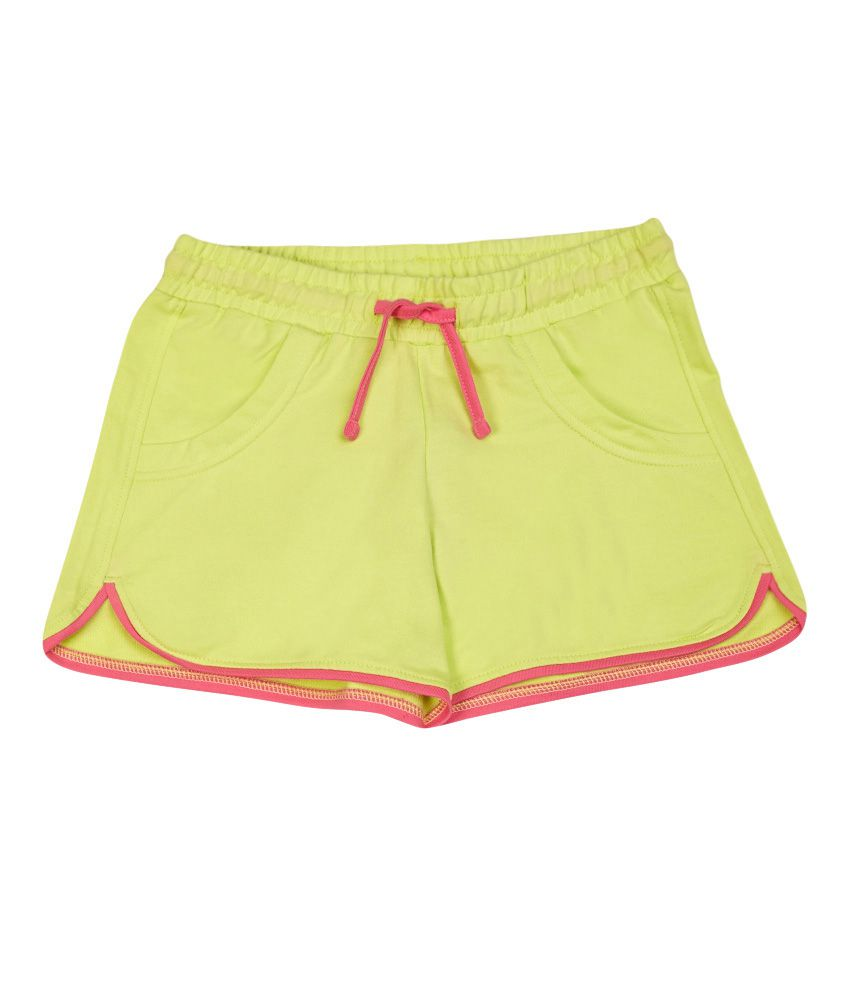 United Colors of Benetton Solid Fluo Green Casual Fluo Knitted Shorts