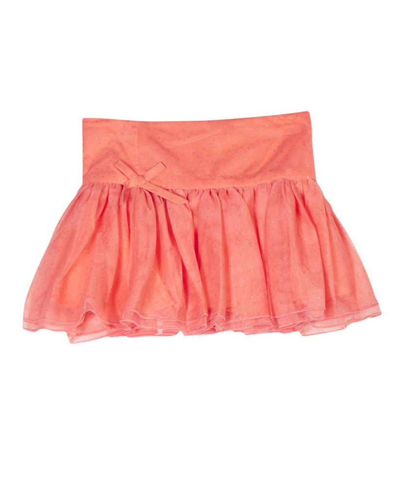 United Colors of Benetton Solid Coral Evening Skirt Wth Mesh And Glitter