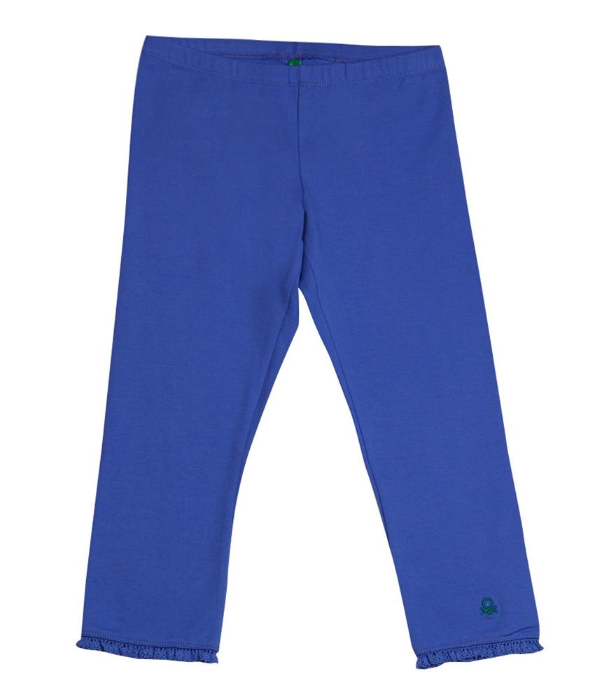 United Colors of Benetton Solid Light Steel Blue Casual Solid Capri