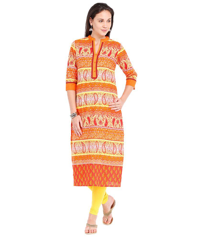 192924f81 Vishudh Orange   Yellow Printed Kurti - Buy Vishudh Orange   Yellow Printed  Kurti Online at Best Prices in India on Snapdeal