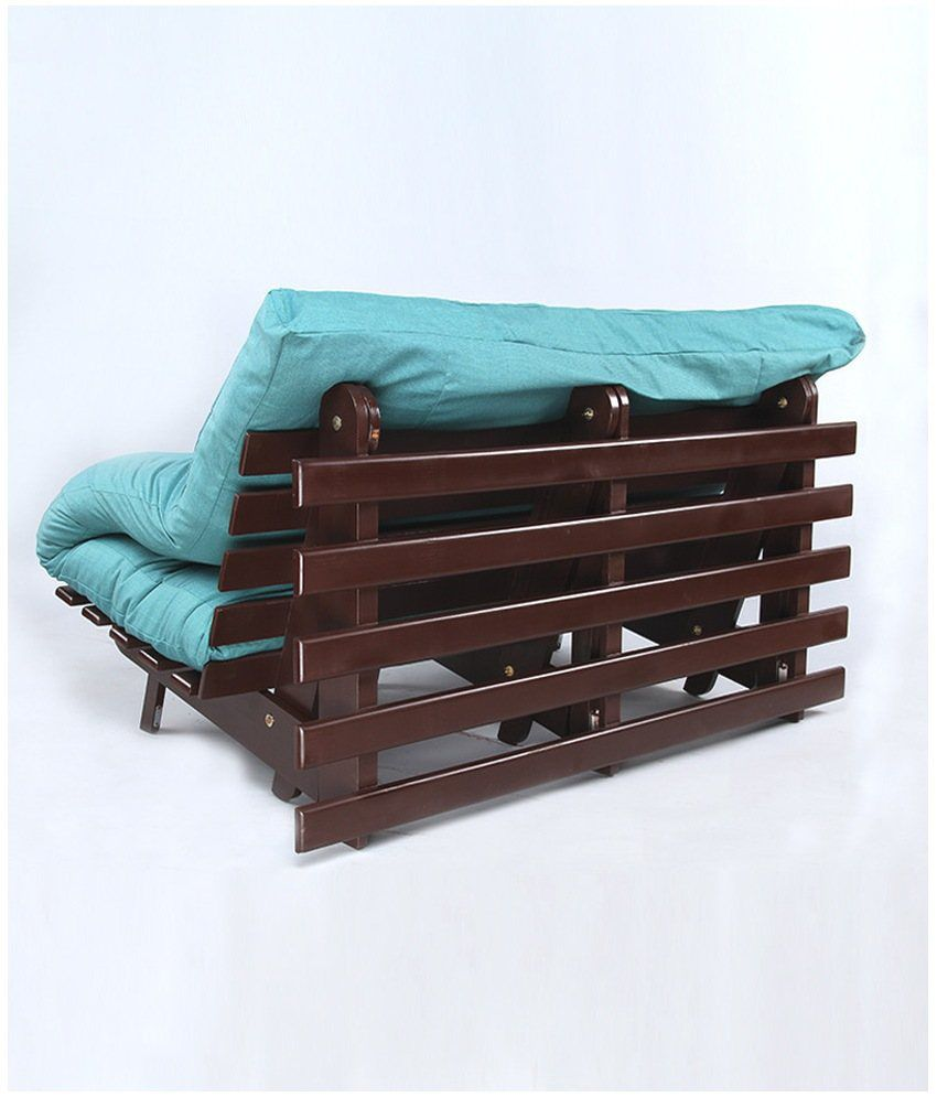 ... ARRA Double Futon Sofa Cum Bed With Mattress   Blue ...