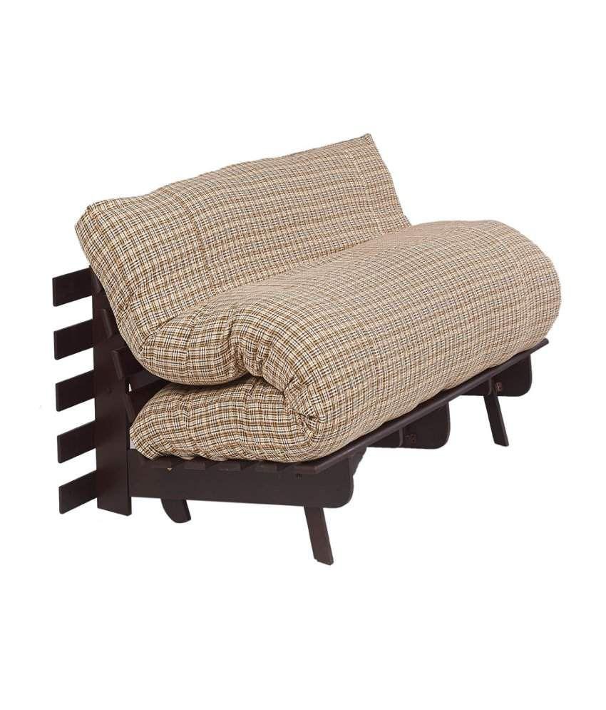 Arra Double Futon Sofa Cum Bed With Mattress Brown Check