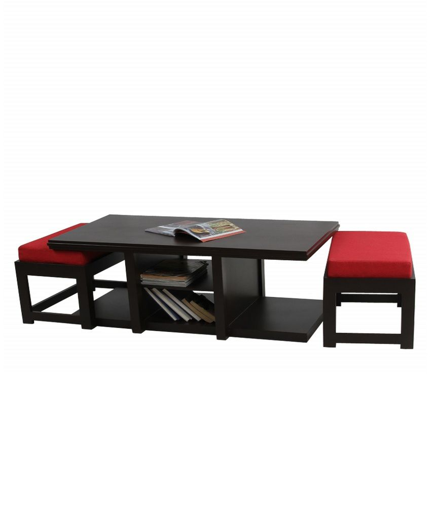 Arra Rectangular Coffee Table With 2 Cushioned Stools Red Snapdeal Price Tables Deals At