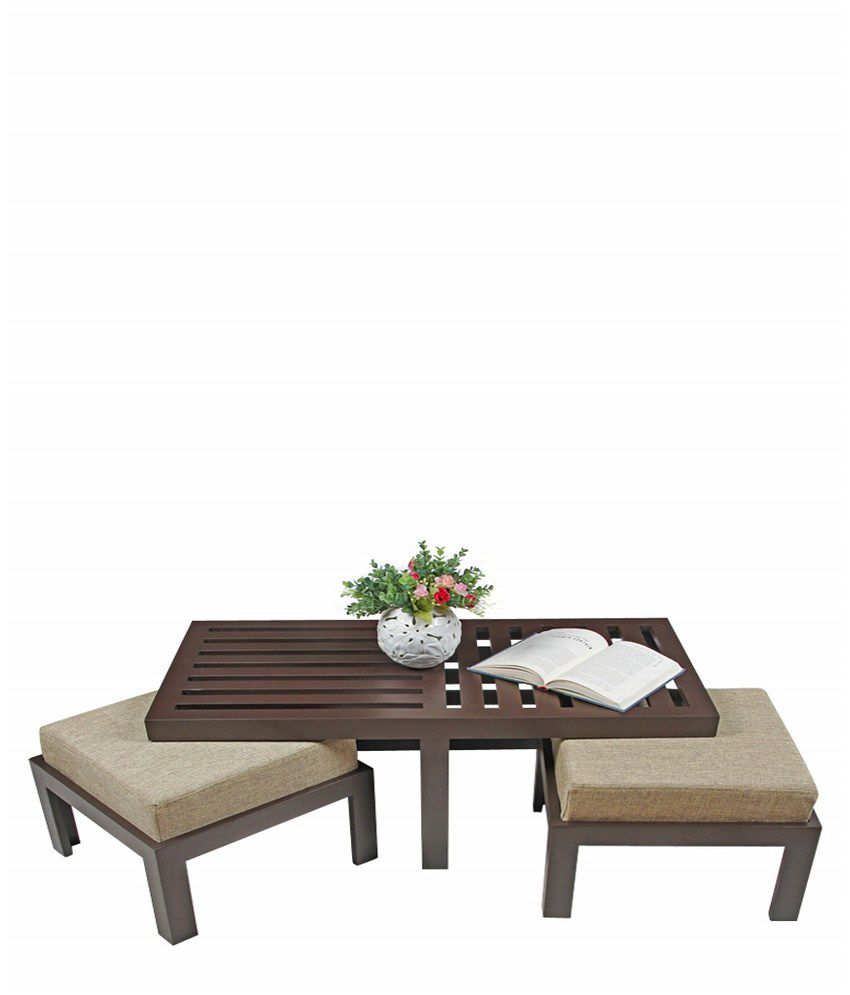 Buy Low Height Solid Coffee Table By Wood Dekor Online: ARRA Trendy Coffee Table With Two Stools