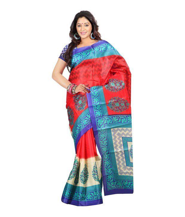 Ambaji Red Bhagalpuri Silk Saree