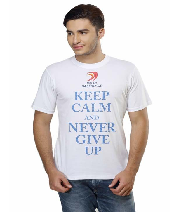 Delhi Daredevils White Printed Cotton Round Neck T-shirt
