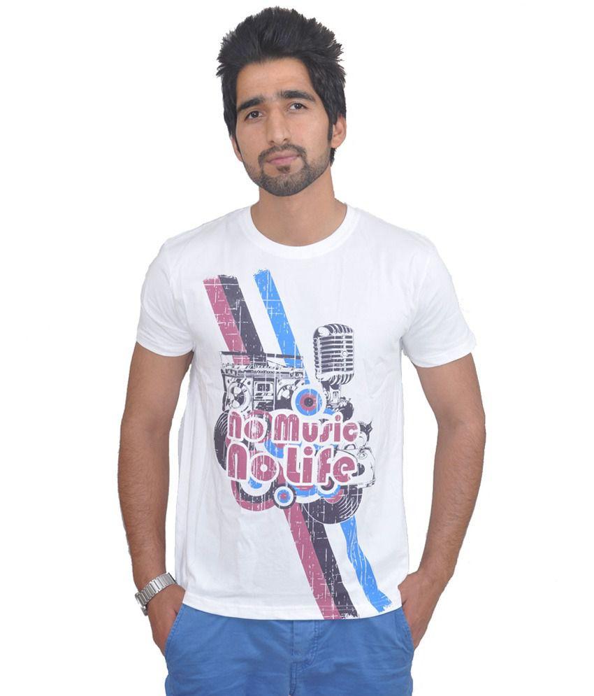 Draco Music White Cotton T- Shirt