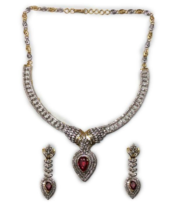 Kataria Jewellers 14Kt Hallmark Colour Spark Complete Bridal Necklace Set with Real Certified Diamonds & Changeable Colour Stones
