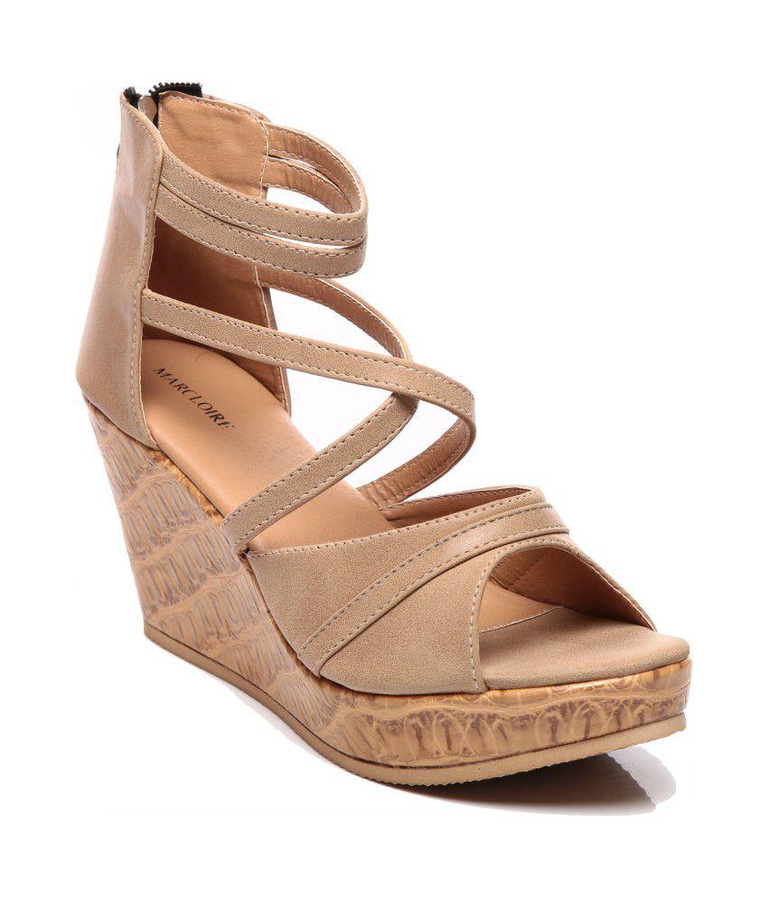 Marc Loire Beige Faux Leather Peep Toe Heel Sandal