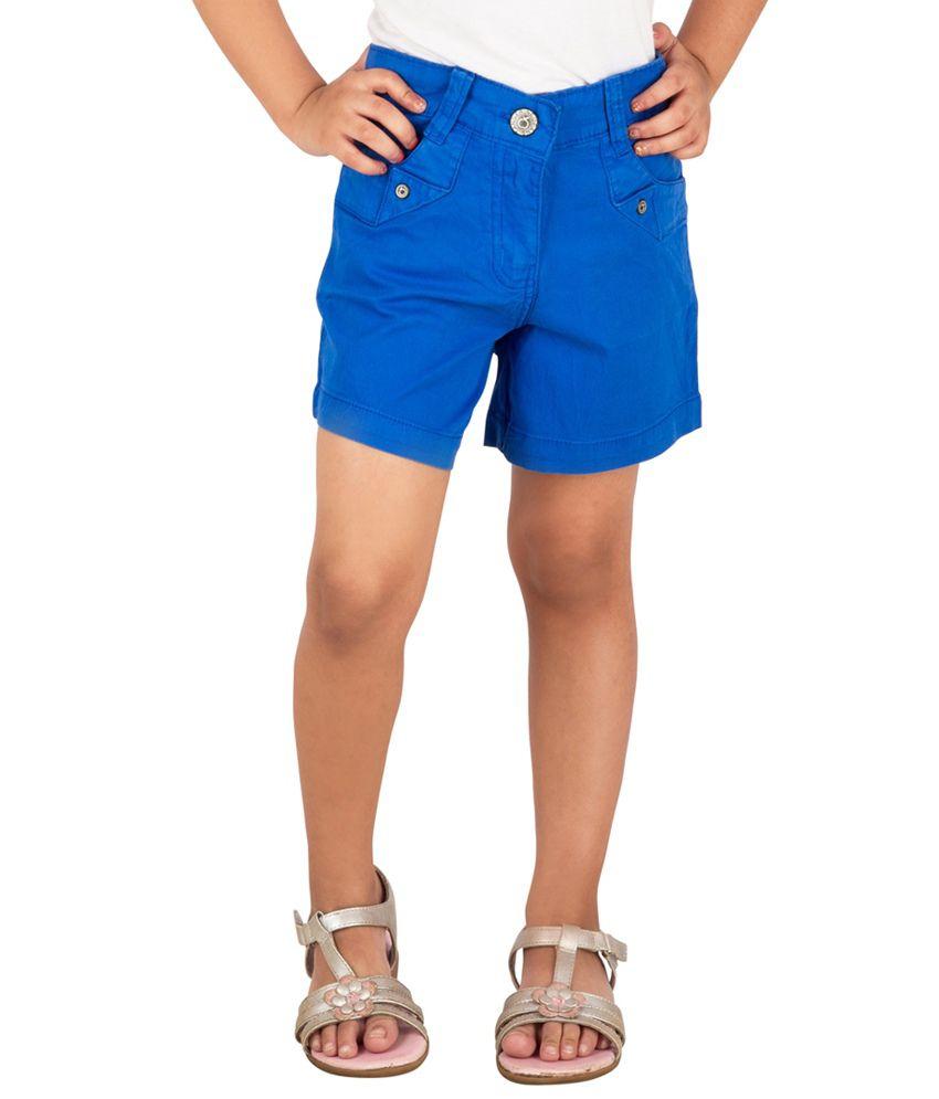 Tangerine Blue Cotton Shorts