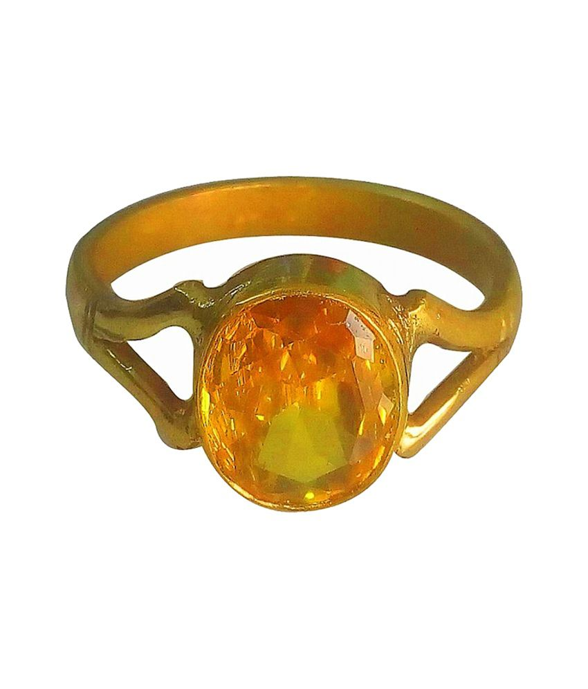 Asian Gems & Jewels Cultured Yellow Sapphire / Pukhraj Finger Ring (Panch Dhaatu) Of 3.25 Ratti