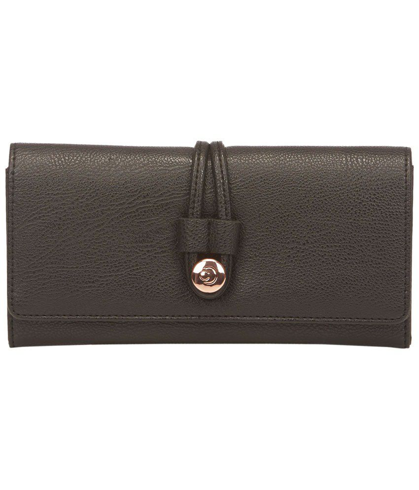 Caprese Black Faux Leather Medium Wallet