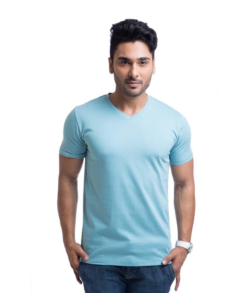 Cult Fiction Blue Cotton Round Neck Half Sleeves Shirt