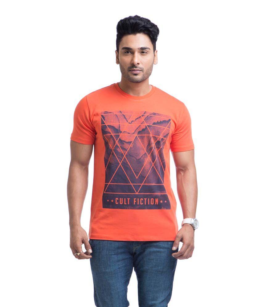 Cult Fiction Orange Cotton Round Neck Half Sleeves Shirt
