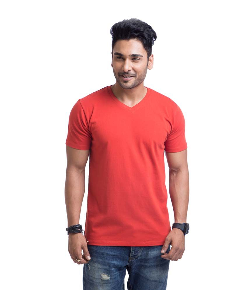 Cult Fiction Red Cotton Round Neck Half Sleeves Shirt