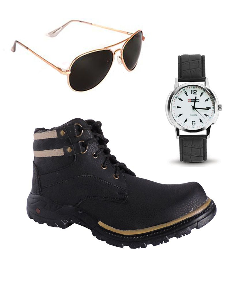 Elligator Combo Of Black Synthetic Leather Boots Aviator Sunglass And Black Watch