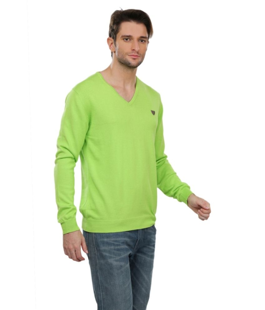 Pagas Silks Green Cotton Blend Full Sleeve T-Shirt