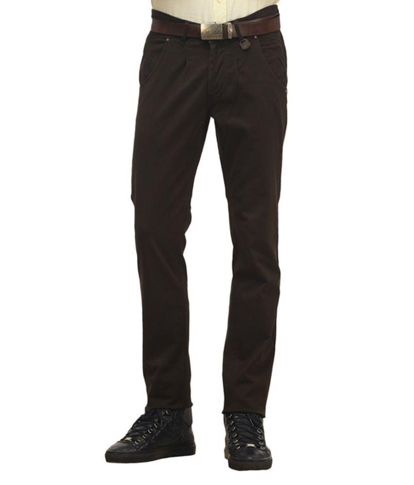 Waltz Brown Cotton Trousers For Men