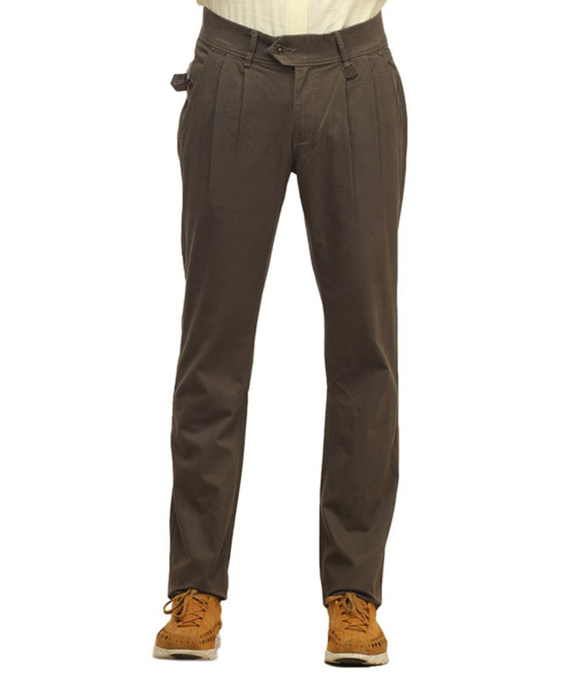 Waltz Gray Cotton Trousers For Men
