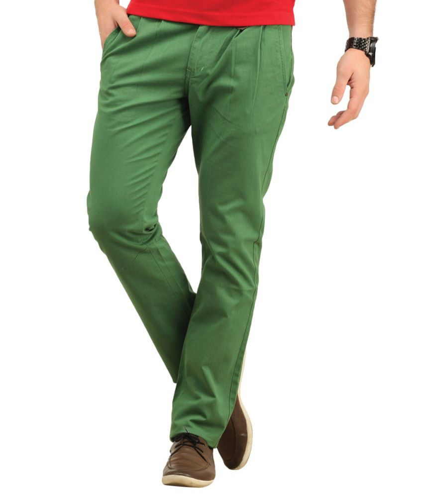 Waltz Green Cotton Trousers For Men