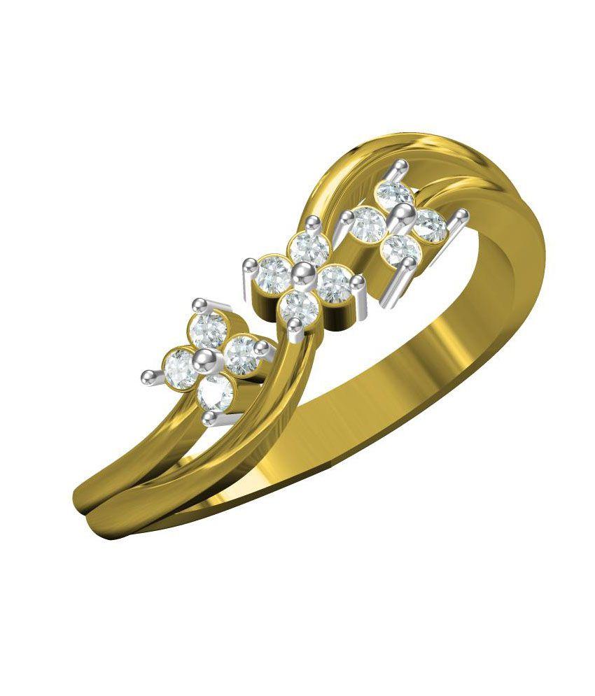 Dazzle Jewels 18K Yellow Gold Designer Fine Diamond Jewelry Rings For Women.