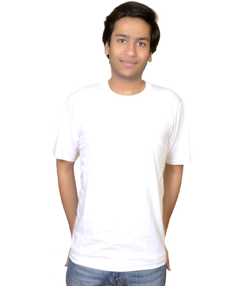 Future Fashion White Cotton Blend Round Neck T-Shirt For Men
