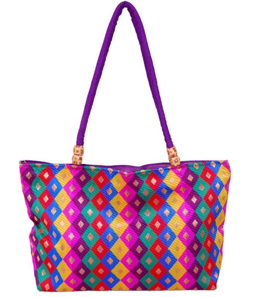 Womaniya Woman852 Purple Tote Bags