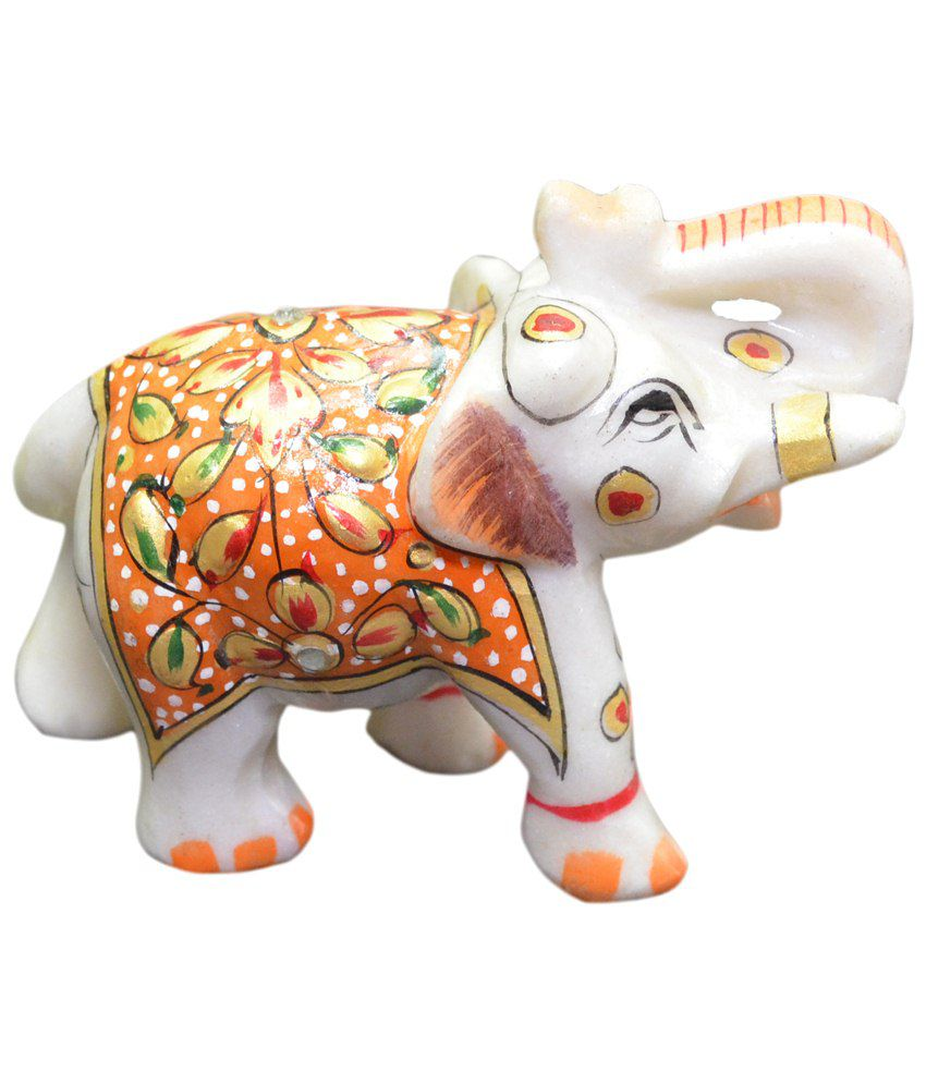 Artist Haat Marble Elephant Sculpture with carving and painting.