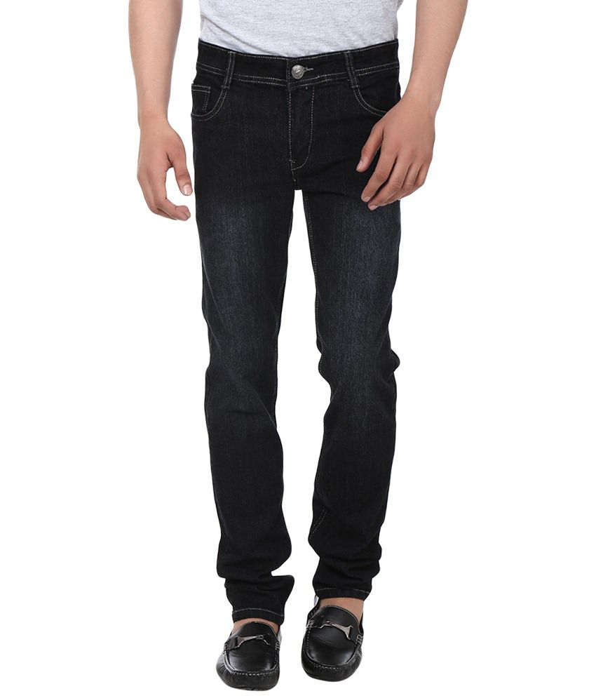 Jack Berry Black Cotton Blend Heavy Faded Jeans