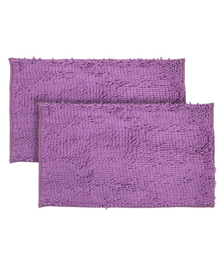 Just Linen Pair Of Chenille Pom Pom Antiskid Purple Floor Mats