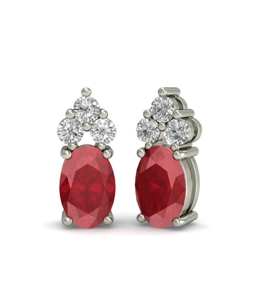 LPJ Oval Natural Ruby and Diamond Accent Stud Earrings in 14Kt White Gold