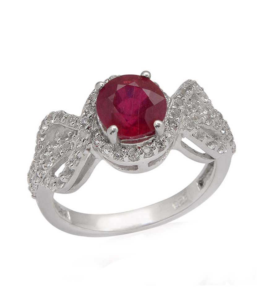 Living Gems Silver Ring with 2.16 cts ruby