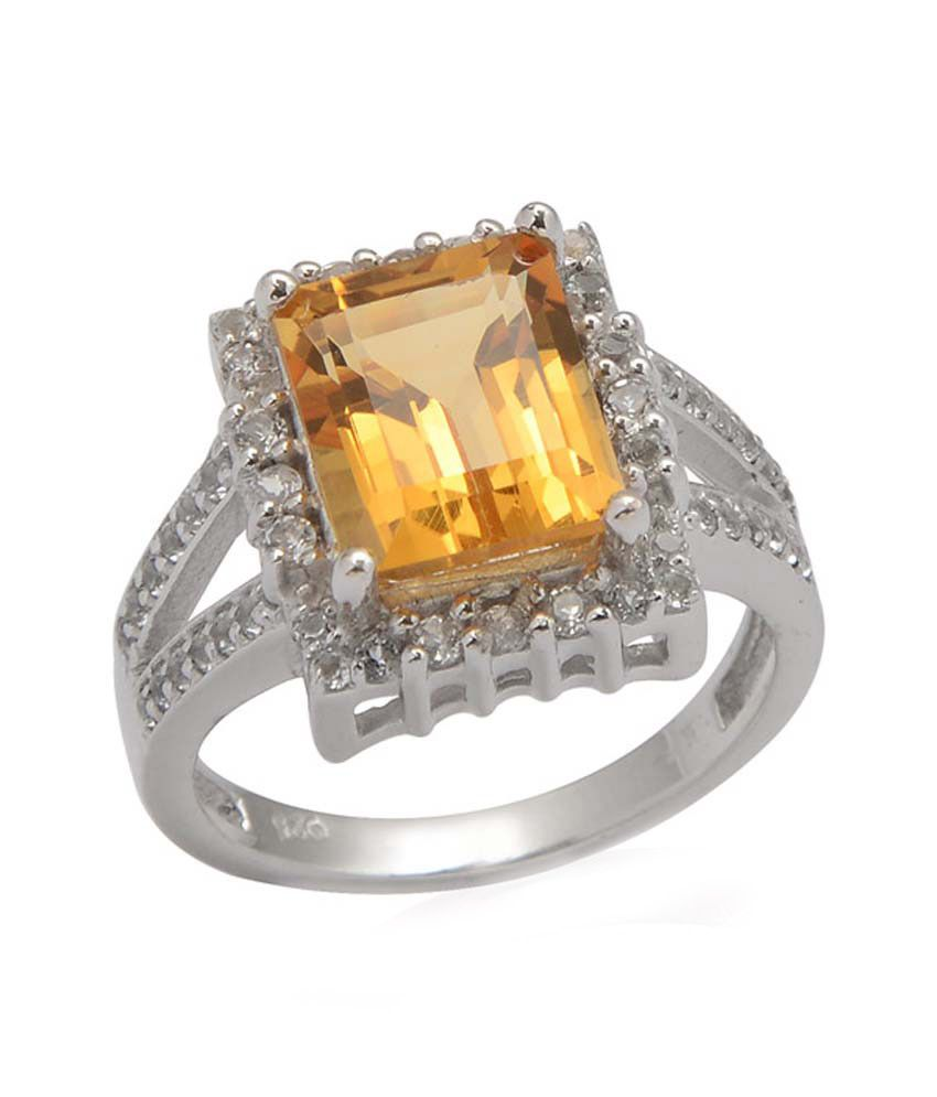 Living Gems Silver Ring with 3.48 cts citrine