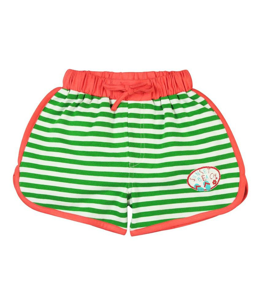 Oye Green Cotton Striped Shorts