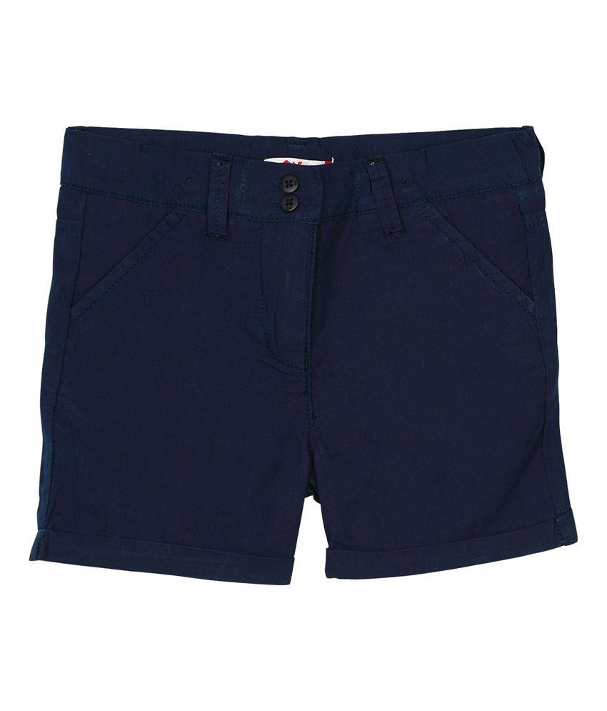 Oye Navy Cotton Solids Shorts