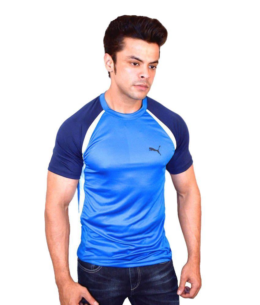 Puma Blue Polyester Round Neck T-shirt
