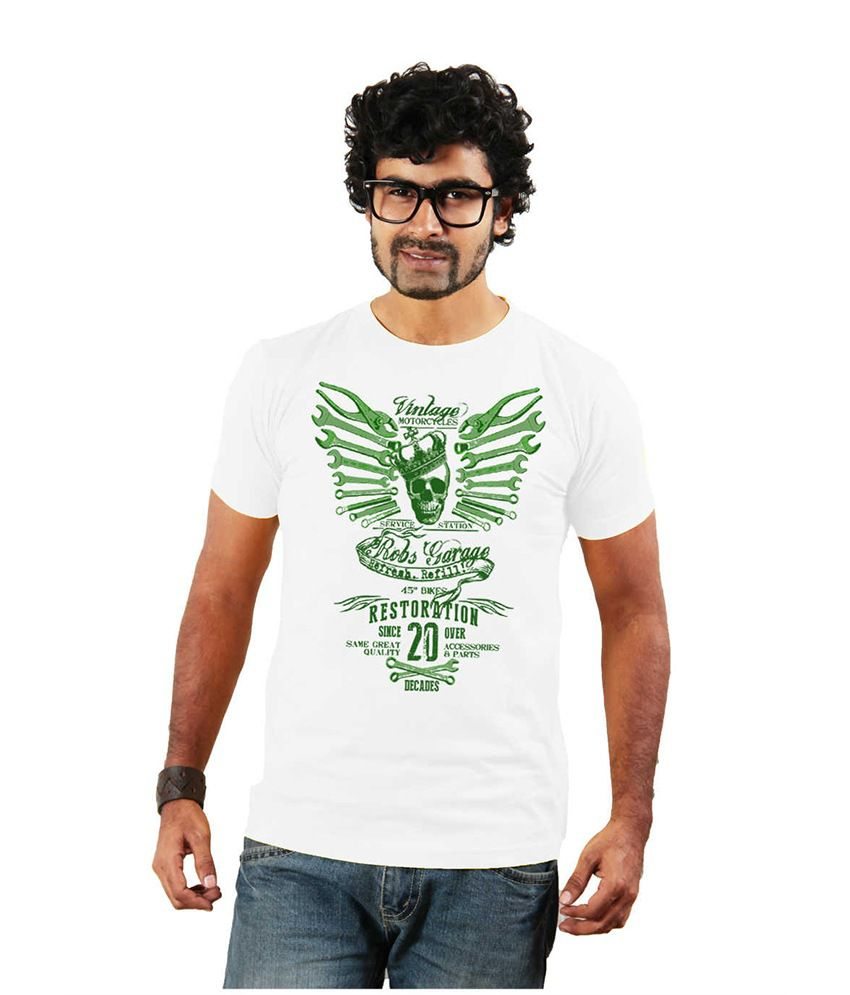 Shopping Monster White Printed Cotton Blend T Shirt