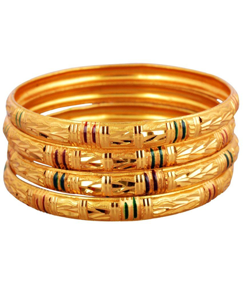 Lucky Jewelry Exotic Gold Plated Bangle Pair