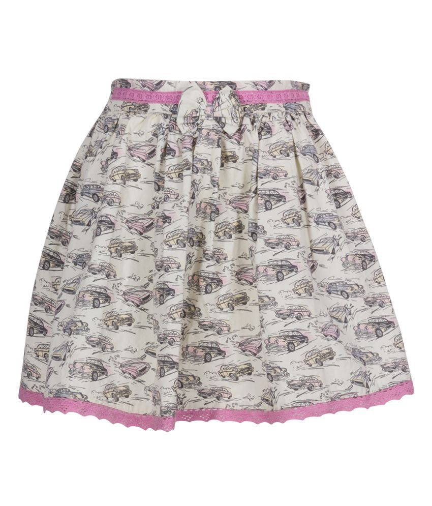 Miss Alibi White Cotton Skirt
