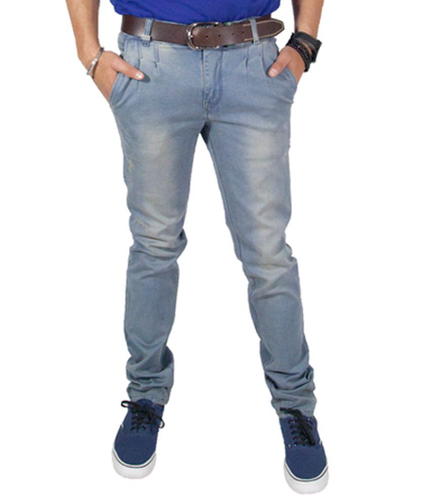 Rollister Blue Cotton Regular Fit Mid Rise Jeans