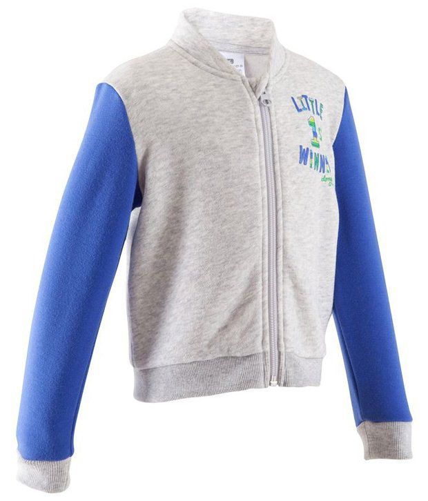 Domyos Blue & White Brushed Jersey Fitness Jacket for Girls