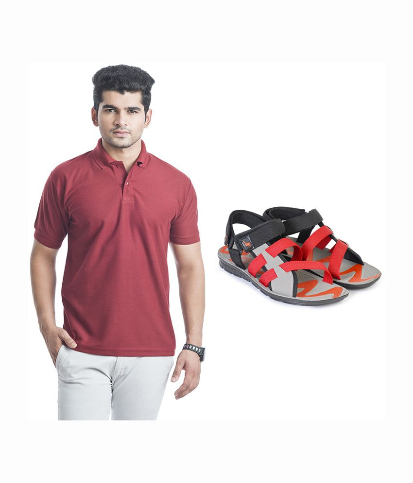 Eprilla Cool Red T-Shirt with Sandals (Pack of 2)