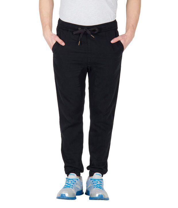 Hypernation black cotton twill regular track pant for men