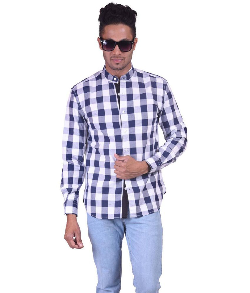 JDC White Checked Slim Fit Cotton Casual Shirt