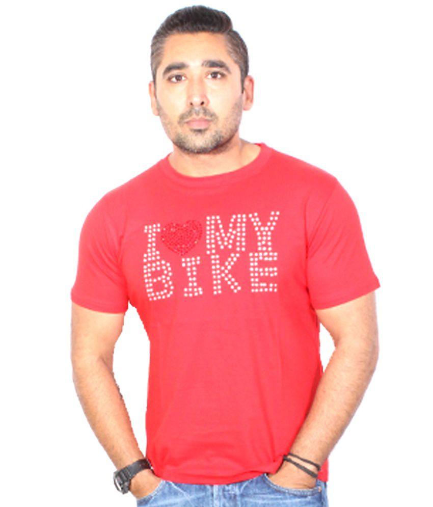 Trend Sense Red Cotton Round Neck Half T-Shirt